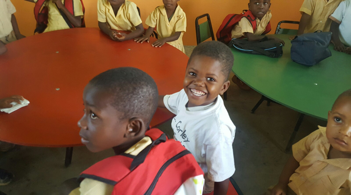 Smiling child from Ste. Anne de Hyacynthe Parish in Haiti